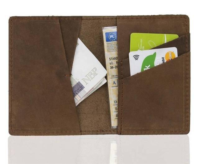 Skórzany cienki portfel slim wallet BRODRENE SW07 jasnobrązowy