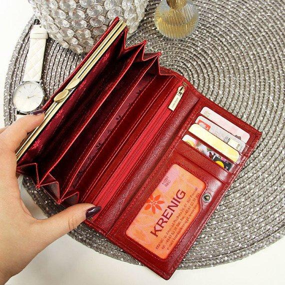 KRENIG El Dorado 11091 - EKSKLUZYWNY czerwony SKÓRZANY PORTFEL DAMSKI w pudełku