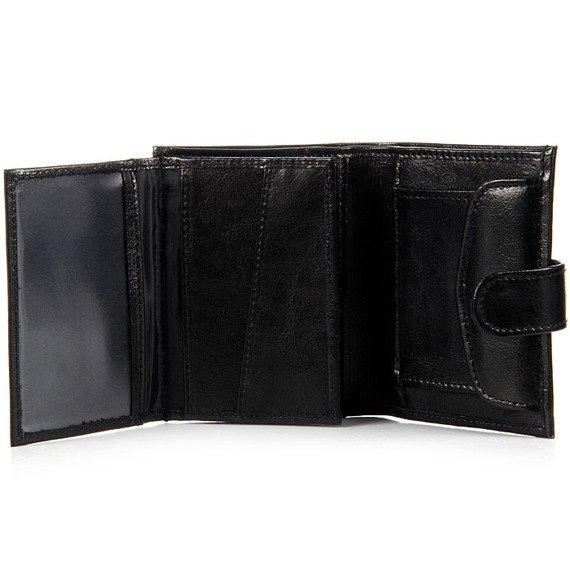 P152 czarny skórzany portfel męski
