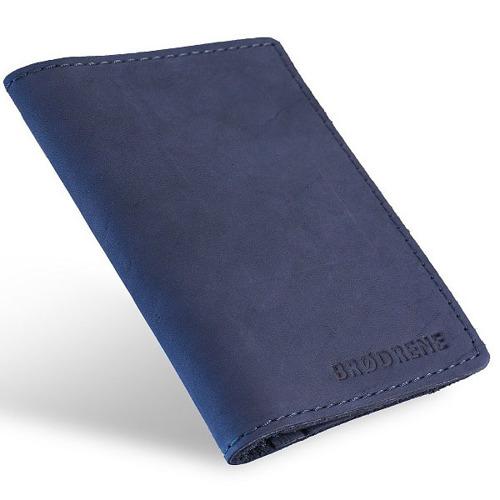 Skórzany cienki portfel slim wallet BRODRENE SW01 granatowy