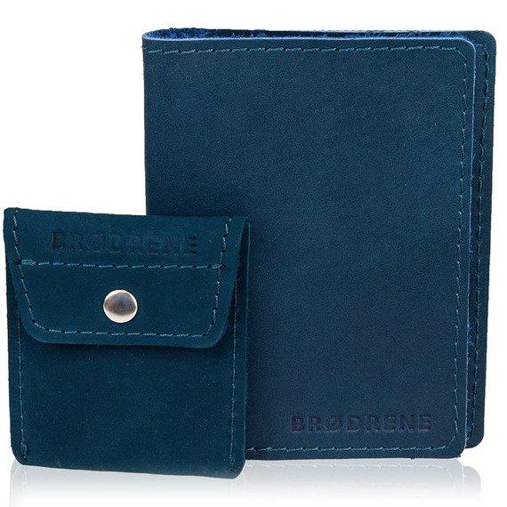 Skórzany zestaw portfel i bilonówka BRODRENE SW01 + CW02 granatowy