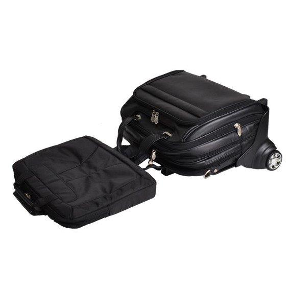 """Skórzana torba podróżna na laptopa 17"""" z odpinanym wózkiem Mcklein Midway 86605 czarna"""