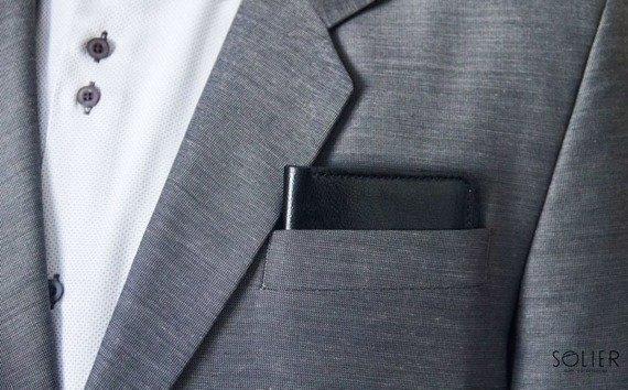 Skórzany cienki portfel męski z bilonówką SOLIER SW16A SLIM czarny