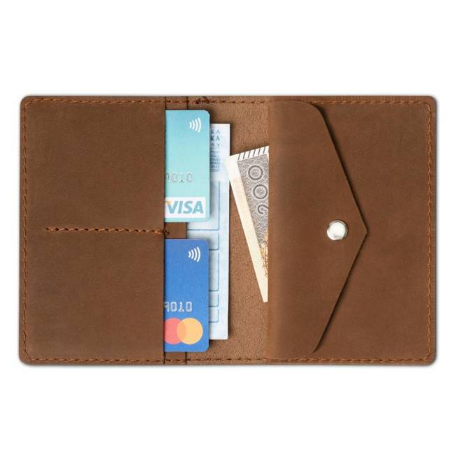 Skórzany cienki portfel slim wallet z miejscem na monety BRODRENE SW08 jasnobrązowy
