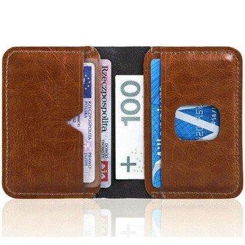 10bf714bc535b Cienki skórzany portfel męski Solier SW11 brązowy
