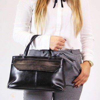 DAN-A T146 czarna torebka skórzana damska kuferek