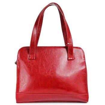 DAN-A T244 czerwona torebka skórzana damska kuferek