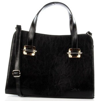 DAN-A T277 czarna torebka skórzana damska elegancka kuferek
