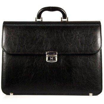 Elegancka czarna teczka biznesowa ze skóry ekologicznej D770
