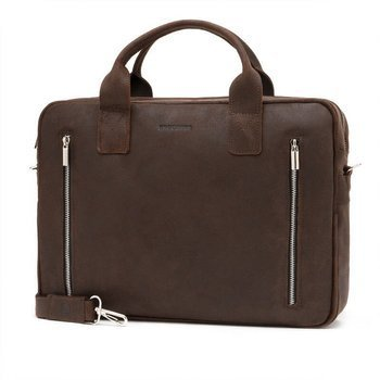 82dd46bfb751c Skórzana torba męska na laptop BRODRENE BL02 ciemnobrązowa