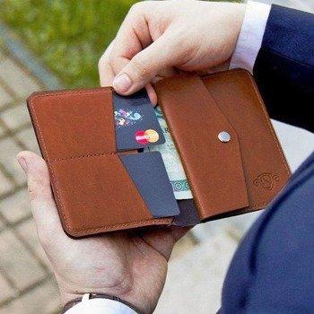 eb664551a8413 Skórzany cienki portfel męski z bilonówką SOLIER SW15 SLIM brąz