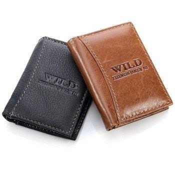 Skórzany mini-portfel męski czarny GA97