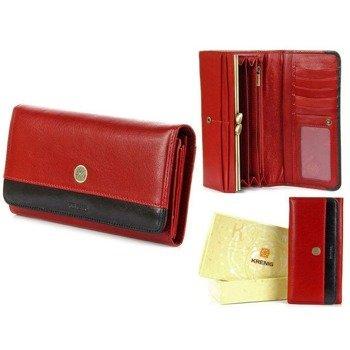 4a9d9c063be16 Skórzany portfel damski KRENIG Scarlet 13026 czerwony w pudełku