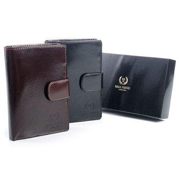 Skórzany portfel męski organizer w pudełku GA57 czarny