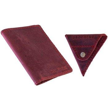 Skórzany zestaw portfel i bilonówka BRODRENE SW01 + CW01 czerwony