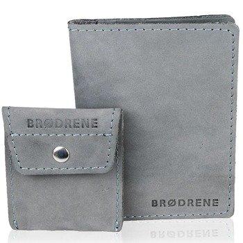 Skórzany zestaw portfel i bilonówka BRODRENE SW01 + CW02 szary