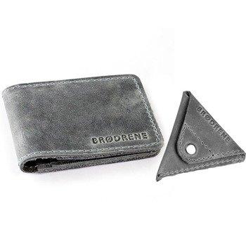 Skórzany zestaw portfel i bilonówka BRODRENE SW02 + CW01 szary