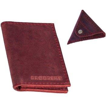Skórzany zestaw portfel i bilonówka BRODRENE SW03 + CW01 czerwony