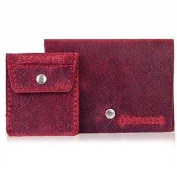 Skórzany zestaw portfel i bilonówka BRODRENE SW06 + CW02 czerwony