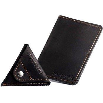 Skórzany zestaw portfel i bilonówka BRODRENE SW07 + CW01 czarny