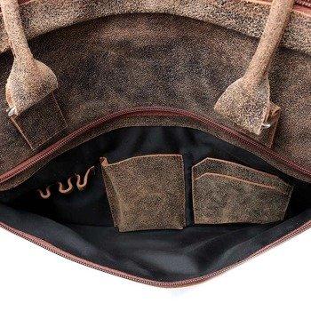 Włoska torba skórzana vintage na laptopa jasnobrązowa