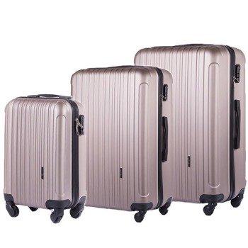 Zestaw walizek podróżnych na kółkach SOLIER STL2011 ABS szampański