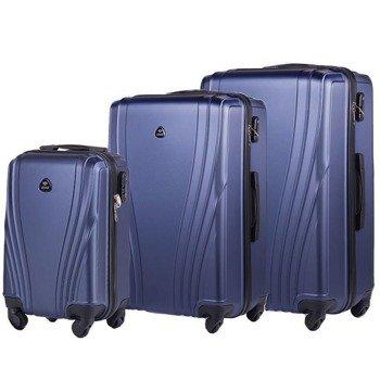 Zestaw walizek podróżnych na kółkach SOLIER STL319 ABS granatowy