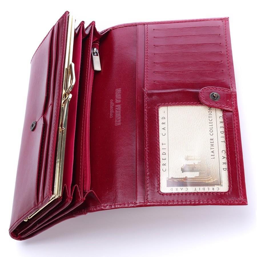 Czerwony ekskluzywny skórzany portfel damski w pudełku GA91