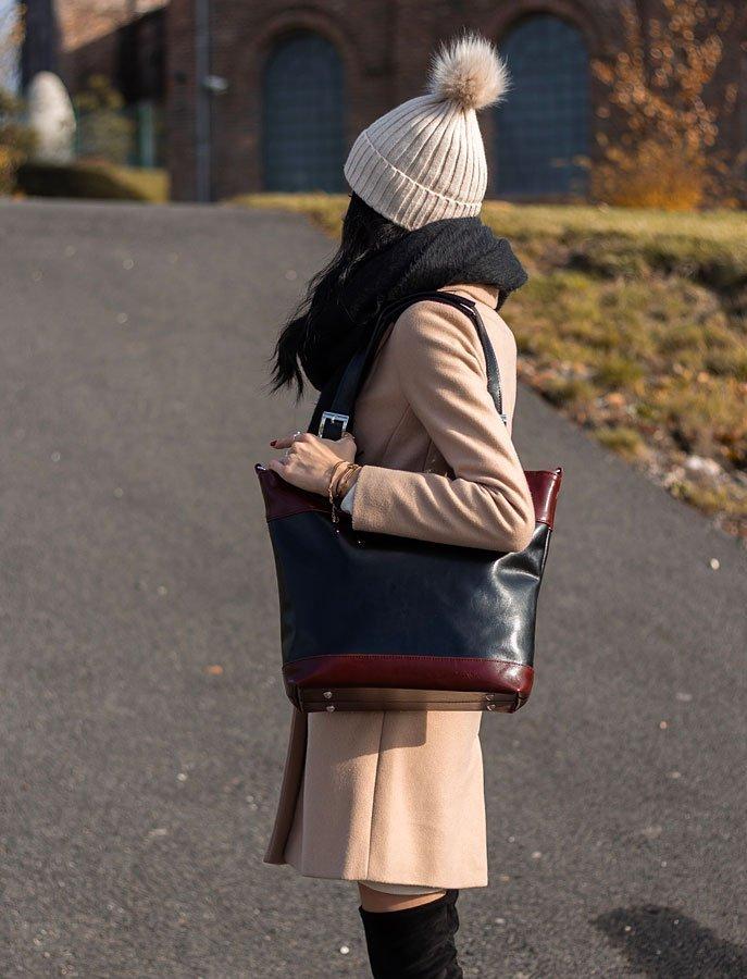DAN-A T195B czarno-koniakowa torebka skórzana elegancka
