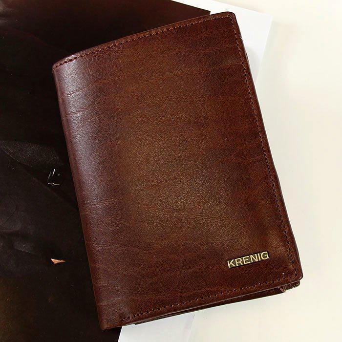 2134ec7db44dd KRENIG El Dorado 11029 brązowy portfel skórzany męski w pudełku ...