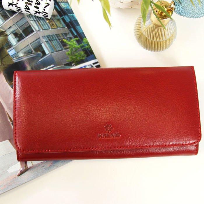 7101881035e1c Portfel skórzany damski KRENIG Classic 12026 czerwony w pudełku ...