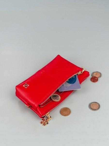 932d374573eeb Portmonetka damska mini kosmetyczka czerwona Milano Design -  20836 ...