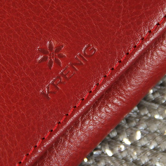 Portmonetka skórzana damska KRENIG Classic 12011 czerwona w pudełku