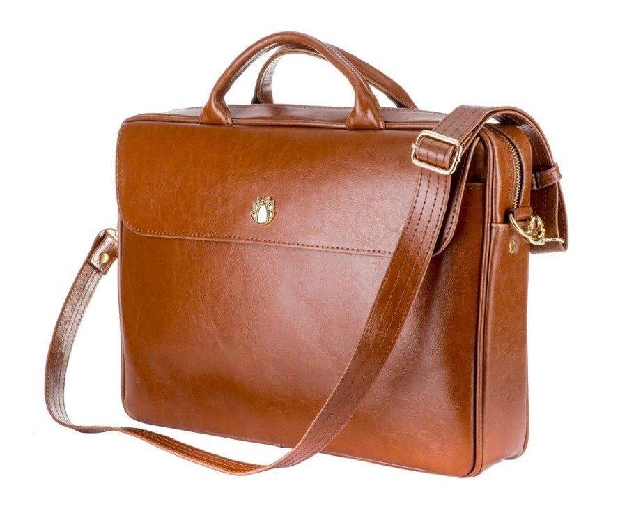 3486c0dde9b50 Skórzana torba aktówka damska na laptopa FELICE brązowa -  17959 ...