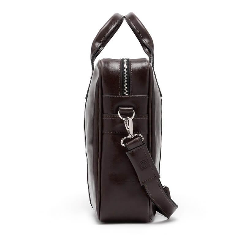 7488cb6fb18f4 Skórzana torba męska na laptopa BRODRENE R01 ciemnobrązowa - [17013 ...