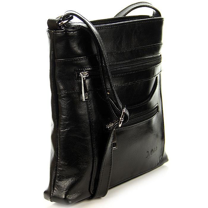 Skórzana torebka damska listonoszka czarna DAN-A T356