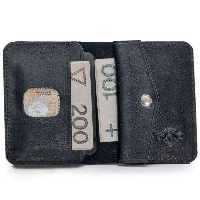8b24bcfd6c52d Skórzany cienki portfel męski z bilonówką SOLIER SW16 SLIM czarny ...