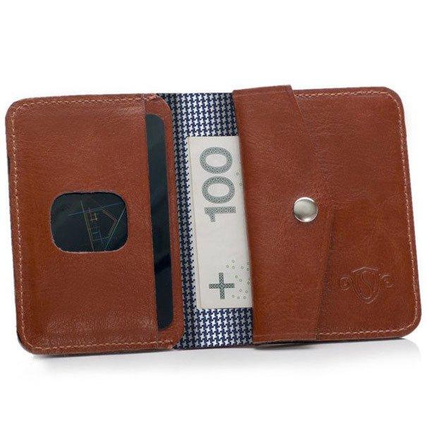 eb0568a0466021 Skórzany cienki portfel męski z bilonówką SOLIER SW16A SLIM brązowy ...