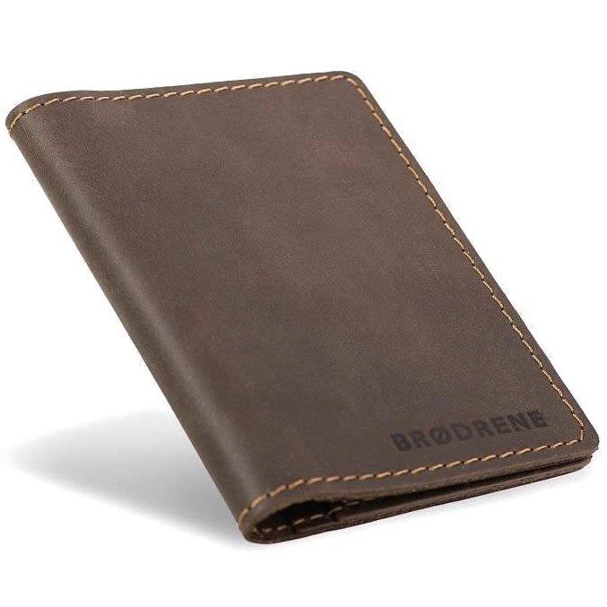 e7ee5c36179a8 Skórzany cienki portfel slim wallet BRODRENE SW07 brązowy -  17760 ...