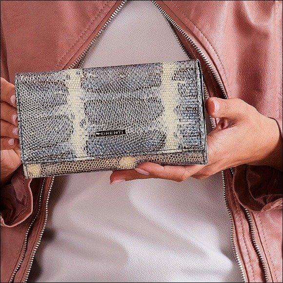 6993369479135 Skórzany portfel damski wzór skóry węża niebieski Lorenti 76114 ...