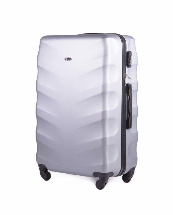 96a9e7b9ce24e Średnia walizka podróżna na kółkach SOLIER STL402 M ABS srebrna ...