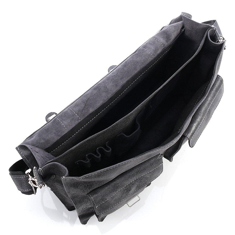 Włoska teczka skórzana vintage czarna GA19