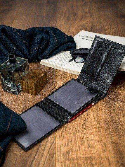 Portfel męski czarno-czerwony Rovicky 324-RBA-D BLACK-RED