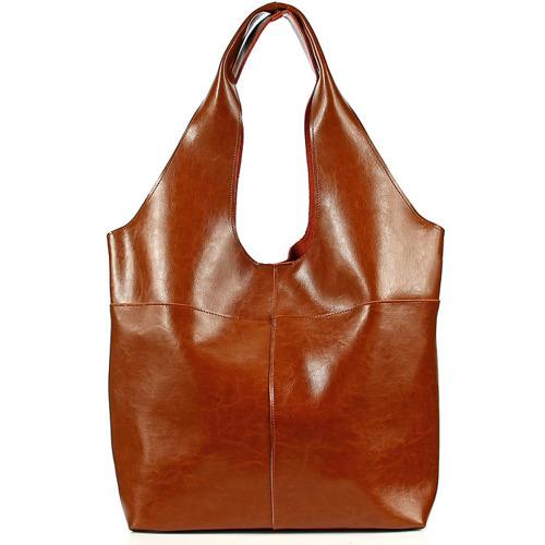 Skórzana torebka damska shopper bag camel DAN-A T357
