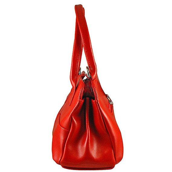 DAN-A T171 czerwona torebka skórzana damska kuferek