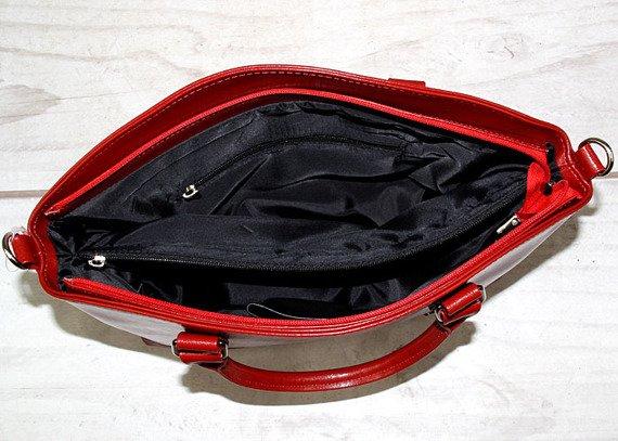 DAN-A T194 czerwona torebka skórzana damska kuferek łódka