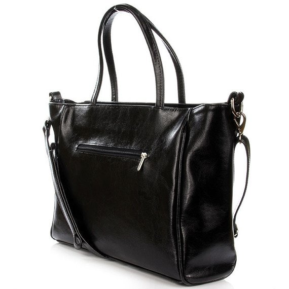 DAN-A T266 czarna elegancka torebka ze skóry naturalnej