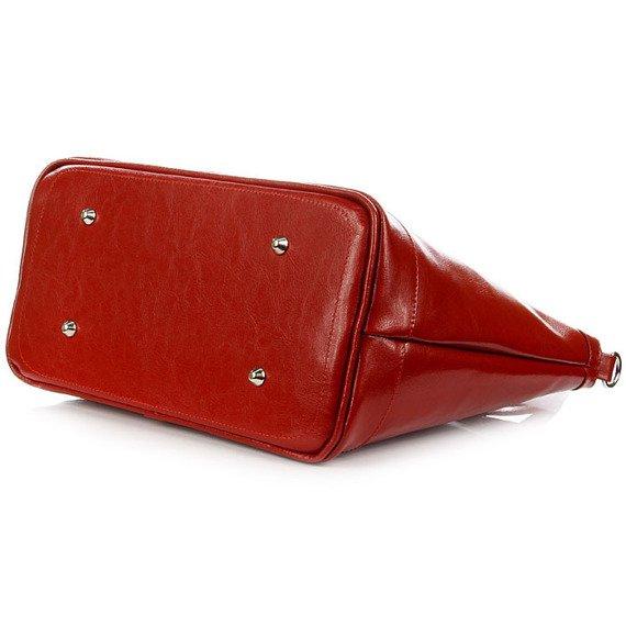 DAN-A T268 czerwona torebka kuferek ze skóry naturalnej