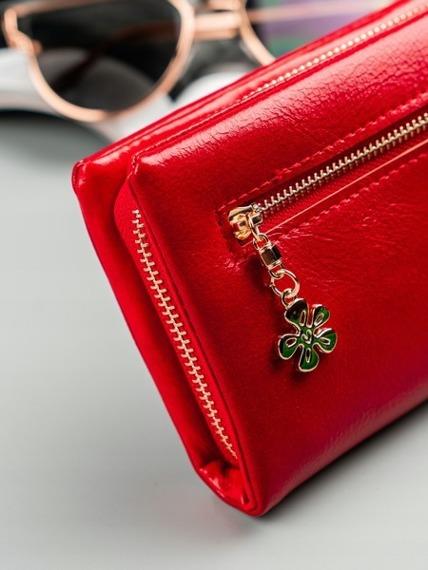 Duży portfel damski czerwony Milano Design