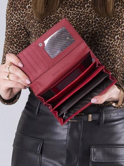 Ekskluzywny skórzany portfel damski czerwony Cavaldi H27-2